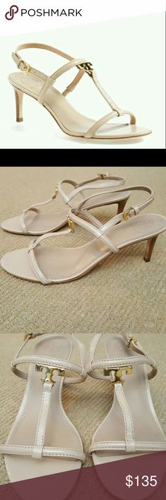 Tory Burch T logo Saffiano Leather Nude Heels Classic nude adjustable slingback strap sandals. Gold T logo without a scratch. The buckles have Tory Burch on them. Heels are approximately 3 inches. Worn once. EUC. Nonsmoking home. The first picture is a stock photo. The others are my actual sandals ☺ Tory Burch Shoes Sandals