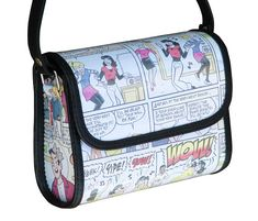 This small crossbody bag is made using comics magazine paper. Features: - Magnet closure flap top - Adjustable strap made of vinyl. - An inner zip pocket that uses YKK zipper. - Polyester fabric used for lining. Dimensions in inches: 6.6 long, 5.5 high, 2.8 wide Dimensions in