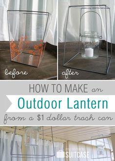 DIY Ideas | Mason Jar Candle Lantern ~ Turn a dollar store trash can into an outdoor mason jar candle lantern!