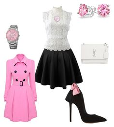 """""""On Wednesdays We Wear Pink (1)"""" by o2lkgypsy2o on Polyvore featuring Oscar de la Renta, WithChic, Yves Saint Laurent, Akribos XXIV, Bling Jewelry and Laura Munder"""