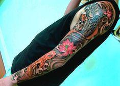 Tattoo design koi fish full sleeve