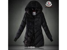 Billiger Moncler Damen Lange Daunen mantel mit Kapuze Schwarz outlet zürich