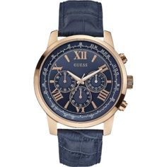 Buy Now New Guess Watches 2019 Collection at Acotis Jewellery. Call us on Guess Mens Blue Leather Strap Watch A Rose Gold Case Smartwatch, Sport Watches, Watches For Men, Guess Watches, New Blue, Herren Chronograph, Leather Men, Swatch, Jewelry Watches