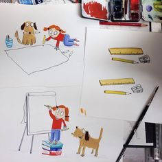 I've been burning  the midnight oil this week drawing some of Michael Rosen's characters for the Discover centre in London. Wasn't quite sure how they'd look by light of day, but I think I'm pleased with them (!) and hope to get them finished on the night shift tonight... :) #michaelrosen #discovercentre #rover #howler #monster #childrensbooks #childrensillustrator #neallayton