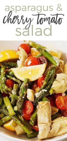 Ditch the winter blues with an Asparagus and Cherry Tomato Salad. Made with roasted asparagus, fresh lemons, cherry tomatoes and marinated artichokes hearts. This salad is topped off with a light, bright and easy homemade lemon vinaigrette.
