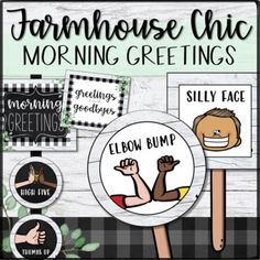 Morning Greetings/Goodbye Choices- Farmhouse Chic | Shiplap, Distance Learning