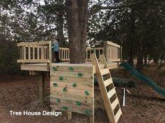 DIY Tree Fort, kids rock wall, tree house, railing, play set for our one big tre… - Backyard Garden Diy Kids Kids Outdoor Play, Backyard For Kids, Diy For Kids, Forts For Kids Outdoor, Outdoor Play Areas, Backyard Treehouse, Backyard Playground, Treehouse Kids, Treehouses For Kids