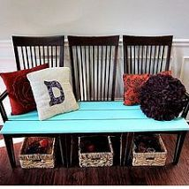 Ready to throw out those old kitchen chairs? Transform them into a beautiful foyer bench in TWO easy steps!