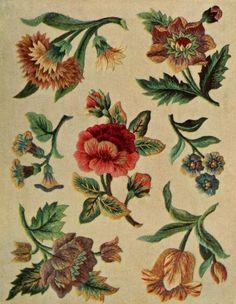"""Jacobean crewel work and traditional designs (1900)"". Vintage printable"