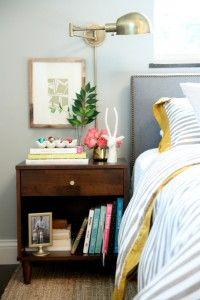 BEDROOM - bedside table + wall colour + wall mounted lighting + simple headboard
