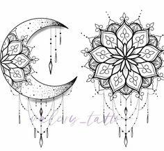 Com Mond Tattoo Designs SkillOfKing. Mandala Tattoo Design, Tatto Design, Moon Tattoo Designs, Mandala Drawing, Mandala Sun Tattoo, Sun And Moon Mandala, Mandala Flower Tattoos, Moon Drawing, Dragonfly Tattoo