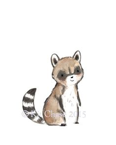 This raccoon is just waiting to play with... you? - art print from an original watercolor, gouache, and acrylic painting by Kit Chase. - archival matte paper and ink - vertical print - ships worldwide