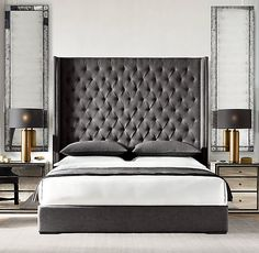 Restoration hardware bedroom furniture restoration hardware bed remarkable bedroom furniture with best ideas on home decor White Bedroom Decor, Gray Bedroom, Bedroom Ideas, Master Bedroom, Restoration Hardware Bedroom, Furniture Restoration, Grey Headboard, Grey Upholstered Bed, Tufted Bed