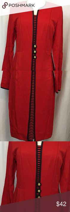 """Vintage Danny & Nicole Womens Size 10 Red Danny & Nicole Womens Size 10 Red Classic Style Long Dress  Looks like a 2-piece dress but is not. Has shoulder pads. All measurements are approximate & are taken with garment lying flat   Pit to pit- 19""""  Neck to shoulder- 5.25""""  Shoulders- 16""""  Shoulder to end of sleeve- 24""""  Waist- 16""""  Hips- 18""""  Length- 40.5"""" Danny & Nicole Dresses Midi"""