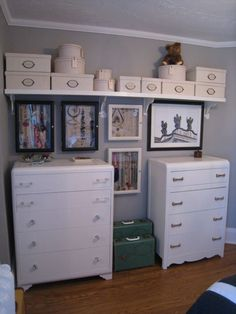 Tall white dresser with additional shelving above