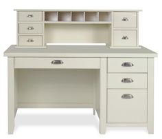 tribeca loft desk and hutch linen white constructed of hardwood solids and engineered wood