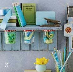 make a bathroom shelf out of old pallets, use old jars screwed into bottom of shelf for cotton balls, qtips, etc.
