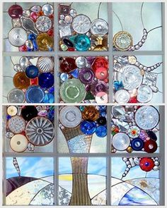 """Alison's Stained Glass - """"This is an advanced form of stained glass, where I use… Stained Glass Designs, Stained Glass Projects, Stained Glass Patterns, Stained Glass Art, Stained Glass Windows, Mosaic Art, Mosaic Glass, Glass Vase, Window Pane Art"""