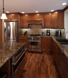 Superbe Kitchen Travertine Floor Dark Caninet Backsplash | ... Dark Maple Cabinets,  Granite Counter And Travertine Tile Floor And | Kitchen | Pinterest |  Travertine ...