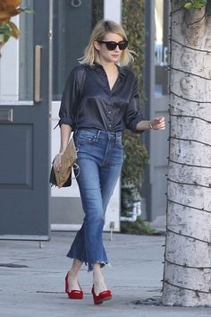 Flare Up: Emma Roberts' Satin Blouse and Crop Flare Jeans Look for Less