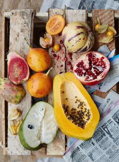 a mix of tropical and subtropical fruit in Lima—cherimoya, pepino, prickly pear, ground cherries, pomegranate, and papaya.