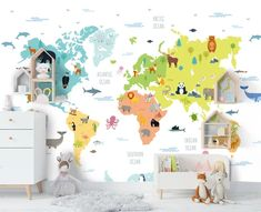 3D Children's Cartoon World Map Wall Mural Wallpaper 65 – Jessartdecoration Boys Room Wallpaper, World Map Wallpaper, Nursery Wallpaper, Kids World Map, Toddler Rooms, Boy Toddler, Murals For Kids, Traditional Wallpaper, Kids Room Design