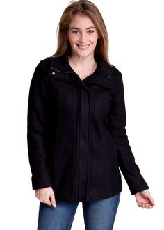 Zippered Shoulder Detail Winter Jacket J30518B, clothing, clothes, womens clothing, jeans, tops, womens dress