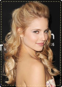 Dianna Agron's wavy half-up, half-down hairstyle is perfect for a first date!