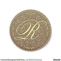 Shop Custom Monogram Gold Ornamental Classic Round Sticker created by GlitterInvitations. Glitter Invitations, Round Stickers, Art Reproductions, Monogram, Personalized Items, Classic, Gold, Design, Monogram Tote