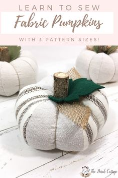 Learn to sew a fabric pumpkin with this pumpkin pattern in 3 sizes. Add a touch of fall to your home decor with this easy fabric pumpkin pattern! Sewing Patterns Free, Free Sewing, Fabric Patterns, Free Pattern, Easy Yarn Crafts, Fabric Crafts, Fabric Art, Fabric Decor, Sewing Crafts