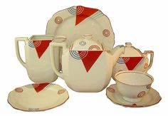 Japanese Art Deco tea set from the 1930's, by the pottery manufacturer Moriyama.