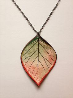 XL Autumnal Ceramic Leaf Pendant by AlainaSheenDesigns on Etsy, $24.00