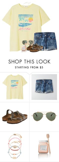 """Lovin this shirt"" by southernstruttin ❤ liked on Polyvore featuring MANGO, American Eagle Outfitters, Birkenstock, Givenchy, Accessorize, Laura Mercier and Kendra Scott"