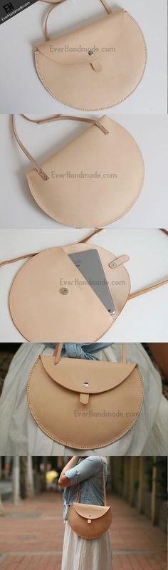 Handmade Leather crossbody purse bag beige purse for women