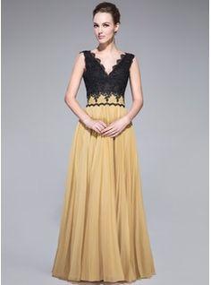 Vestidos princesa/ Formato A Decote V Chá comprimento De chiffon Renda Vestido de baile com Plissada (017042637) - JJsHouse