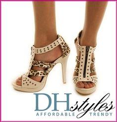 Leopard print studded gladiator heels