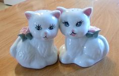 Vintage Porcelain Kitty Cat Salt & Pepper by PopcornVintageByTann