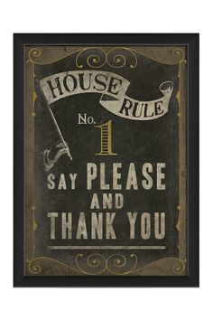 EB House Rule No. 1 Custom Framed Wall Art