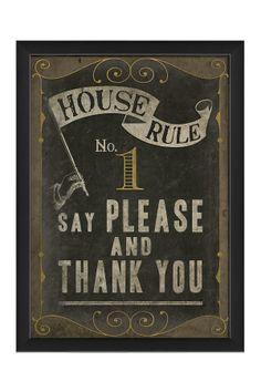 EB House Rule No. 1 Custom Framed Wall Art