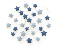 Navy blue gray garland, paper star garland, nursery garland, mantel garland, gender neutral, teepee garland, boy nursery decor, 3D origami