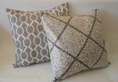 Pillow Covers  Two 18 X 18  Gray  Pillows  Accent Pillows gray  Throw Pillows  Decorative 18 X 18