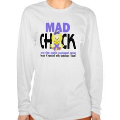 """<font color=black> Girls, if you've got an important person in your life battling esophageal cancer, you are no doubt a """"mad chick"""". Say it out loud with our cute-as-a-button, but mad-as-a-hornet, chick wearing a periwinkle esophageal cancer awareness ribbon and matching bow.  Our attention-grabbing mad chick design, available on t-shirts, apparel, and gifts, offers a light-humored way to express your support for your loved one while sharing an important message of esophageal cancer…"""