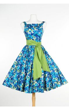 Pinup Couture - Maria Dress in Blue and Olive Green Floral Print | Pinup Girl Clothing