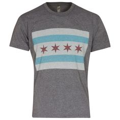 Chicago Men's Grey Triblend Flag Tee #Chicago #ChiTown #ChicagoFlag #Chi #WindyCity Chicago Shirts, Flag, Mens Tops, T Shirt, Fashion, Moda, Tee Shirt, Fashion Styles, T Shirts