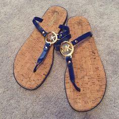 MK Sandals Brand new, never worn. Beautiful navy and these are extremely comfortable. Michael Kors Shoes Sandals