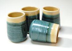 Pottery shot glassesBlue cups liqueurceramic port by Emburr