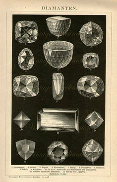 Vintage Antique Print 1895 DIAMONDS Crystals by VintageInclination, $35.00
