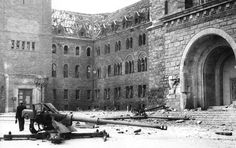 #8.8 cm Pak 43 (Panzerabwehrkanone 43) on its cruciform mount abandoned in the ruins of Poznań - 1945 [2500x1575][x-post from /r/88mm] #history #retro #vintage #dh #HistoryPorn http://ift.tt/2gYOsdc