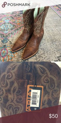 Western boots Ariat genuine brown leather with light detail stitching. 2in heel, size 8.5. Never worn. Ariat Shoes Heeled Boots