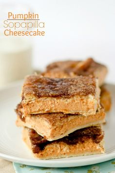 These pumpkin sopapilla cheesecake bars pair the flaky cinnamon pastry with creamy cheesecake filling.